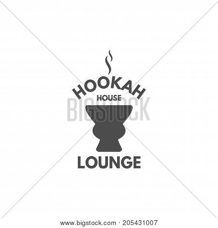 Hookah relax label, badge. Vintage shisha logo with hookah bowl symbol. Lounge cafe emblem. Arabian bar or house, shop. Isolated. Stock vector illustration. Monochrome design.
