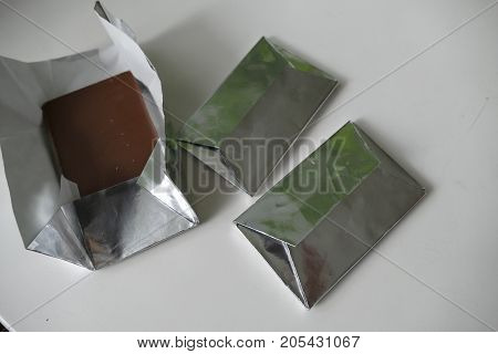 a portion of sweet milk brown chocolate