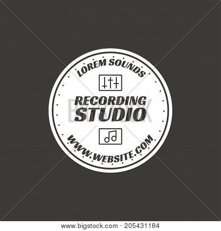 Recording studio vector label, badge, emblem logo with musical instrument. Stock vector illustration isolated on dark background. Monochrome design.