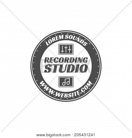 Recording studio vector label, badge, emblem logo with musical instrument. Stock vector illustration isolated on white background. Monochrome design.