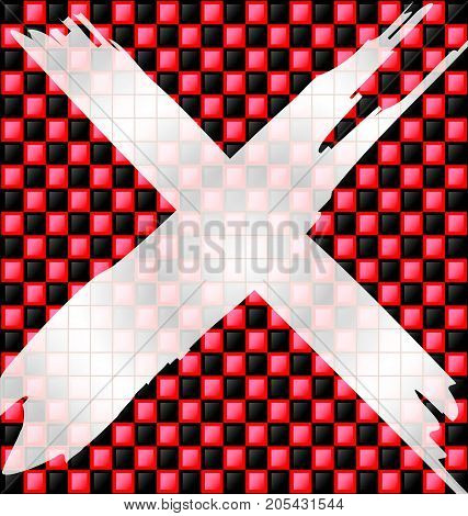 abstract colored background image consisting of lines with red black glossy blocks and white sign prohibition