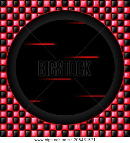 abstract colored background image consisting of lines with red, black glossy blocks and big black hole