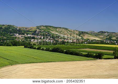 Rural landscape at summer along the road from Brisighella to Modigliana (Ravenna Emilia Romagna Italy). View of Brisighella