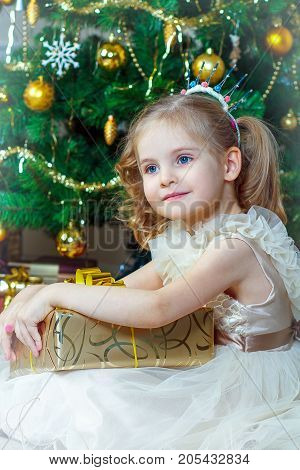 Girl in fancy dress next to a Christmas tree holding a gift
