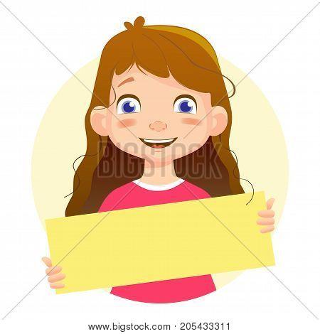 Smiling Girl holding blank poster. Blank message vector illustration. Hands holding blank paper