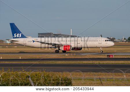Copenhagen Airport Denmark- July 2013: Sas Airbus A321 Takeoff