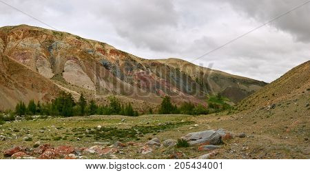 Colorful landscape of mountains in the Altai. Mountainous
