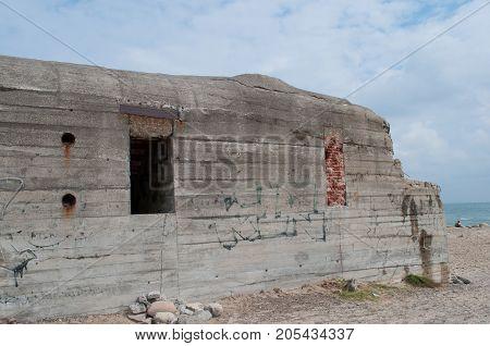 old bunker on the beach at Skagen in Denmark