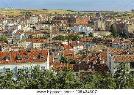 Panoramic view of historic city with Cathedral of Our Lady in the center on August 27 2017 in Burgos Castile and Leon Spain.