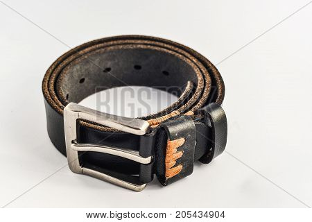 leather belt isolated on white background brown black