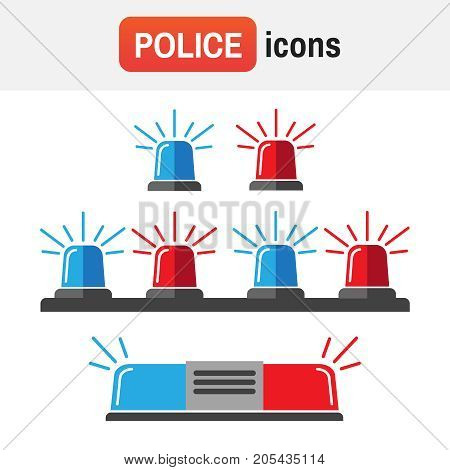 Siren Police Light. Siren Set. Police Flasher Or Ambulance Flasher Icons