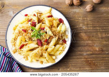 Sweet Pasta With Walnuts And Goji Berries