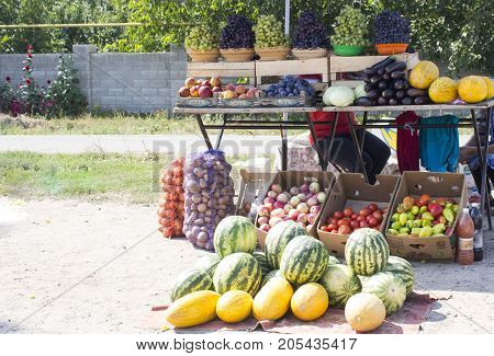 Shop and greengrocer with all kinds of vegetables and fruits  on the street in the village in Romania. September 2017 sunny day. concept of autumn.