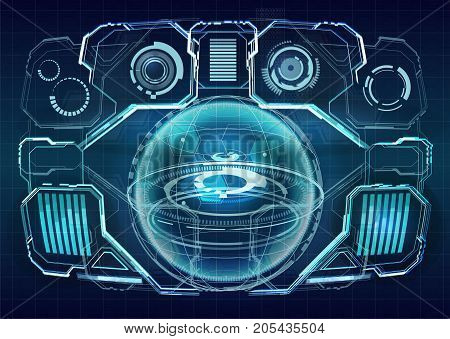HUD interface concept futuristic virtual graphic touch user. Futuristic user interface. Element user interface. HUD. hi-tech main. Earth Hologram. 3D Rendering. 3D illustration