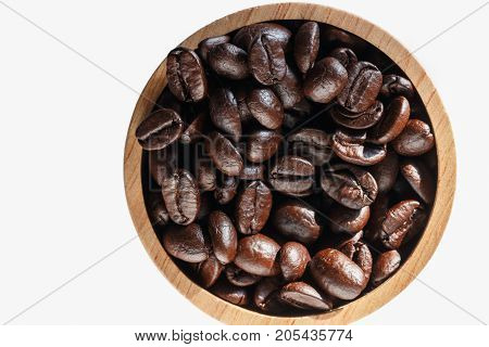 Roasted coffee beans espresso on white background