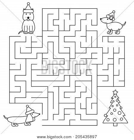 Color page of Christmas maze with cartoon dogs, for preschool and school kids. New Year symbol for children.