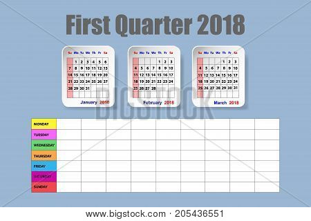 Calendar for first quarter of 2018 year on the blue background with the empty weekly schedule.