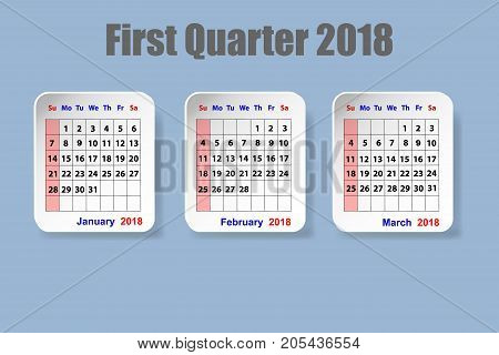 Calendar for first quarter of 2018 year on the blue background
