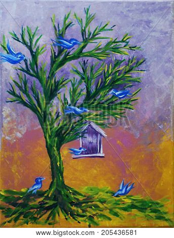 Acrylic Painting on Canvas of Abstract Birds in a Tree with Birdhouse on Yellow, Pink, White, Lavender Background