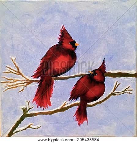 Acrylic Painting on Square Canvas of two Red Cardinals on branches with icy blue background