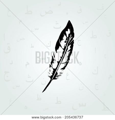 Black and white feather with Arabic Islamic calligraphy symbols vector illustration. Education and writing background with Arabic alphabet text. Typography design