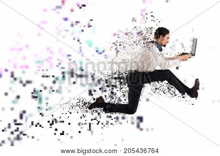 Fast internet connection concept with running businessman with laptop