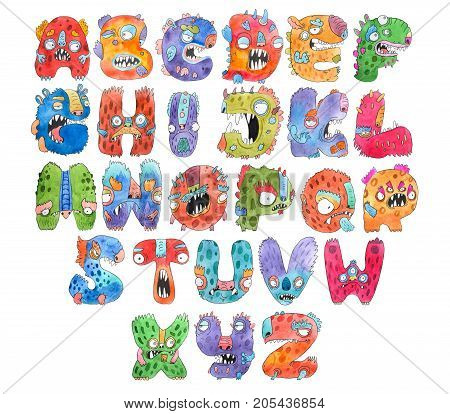 Funny watercolor cartoon English alphabet with monsters.