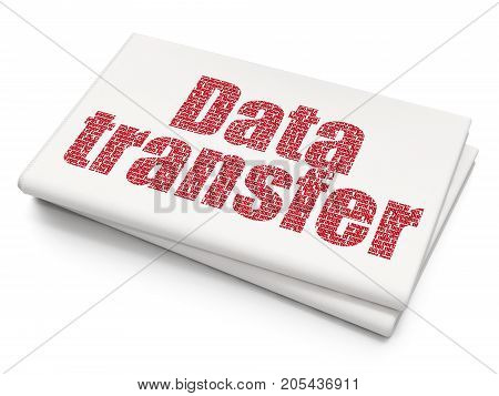 Data concept: Pixelated red text Data Transfer on Blank Newspaper background, 3D rendering