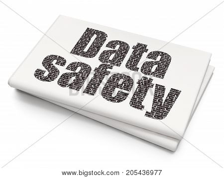 Information concept: Pixelated black text Data Safety on Blank Newspaper background, 3D rendering