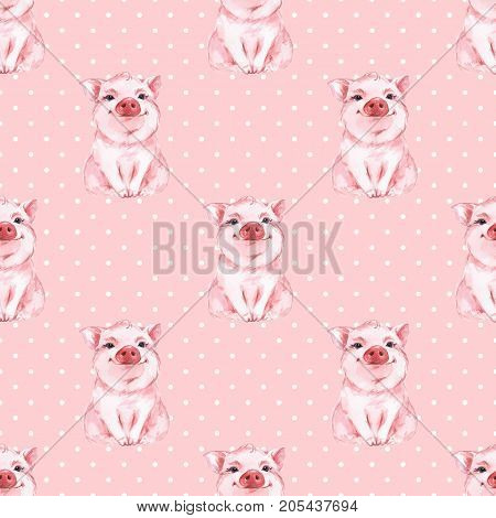 Seamless pattern with pig. Pink background with Polka dots
