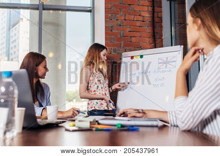 Teacher explaining differences between American and British spelling writing on whiteboard while adult students sitting at desk listening to her in stylish English language school.