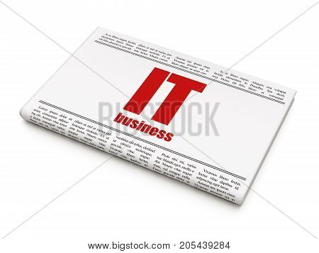 Finance concept: newspaper headline IT Business on White background, 3D rendering