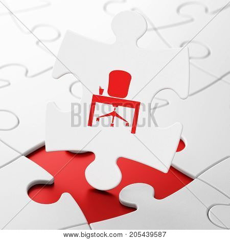 Business concept: Office on White puzzle pieces background, 3D rendering