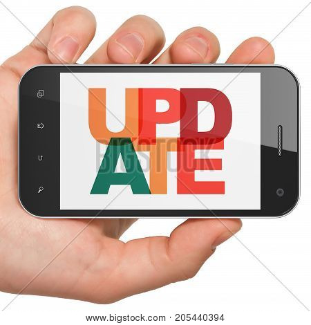 Web development concept: Hand Holding Smartphone with Painted multicolor text Update on display, 3D rendering
