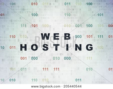 Web design concept: Painted black text Web Hosting on Digital Data Paper background with Binary Code