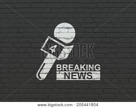 News concept: Painted white Breaking News And Microphone icon on Black Brick wall background