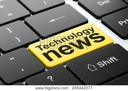 News concept: computer keyboard with word Technology News, selected focus on enter button background, 3D rendering