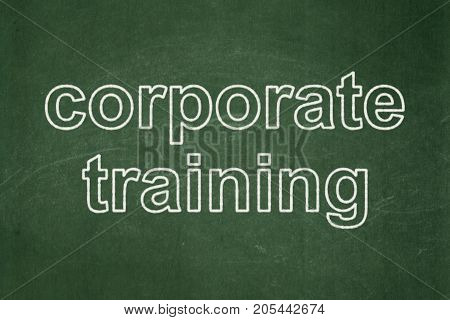 Learning concept: text Corporate Training on Green chalkboard background
