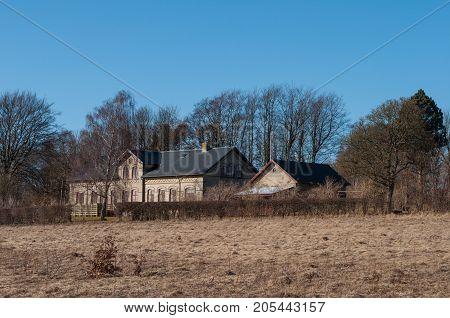 Old Buildings In Village Of Norre Tranders In The Suburbs Of Aalborg