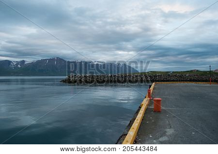 Pier On Island Of Hrisey In Iceland