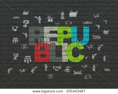 Politics concept: Painted multicolor text Republic on Black Brick wall background with  Hand Drawn Politics Icons