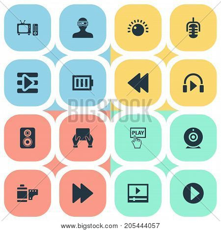 Elements Web Cam, Playlist, Tv And Other Synonyms Record, Battery And Direction.  Vector Illustration Set Of Simple Multimedia Icons.