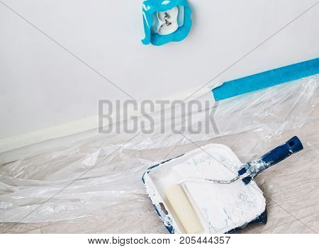 Close Up On Brush With White Pain, Home Repair, Wall Painting