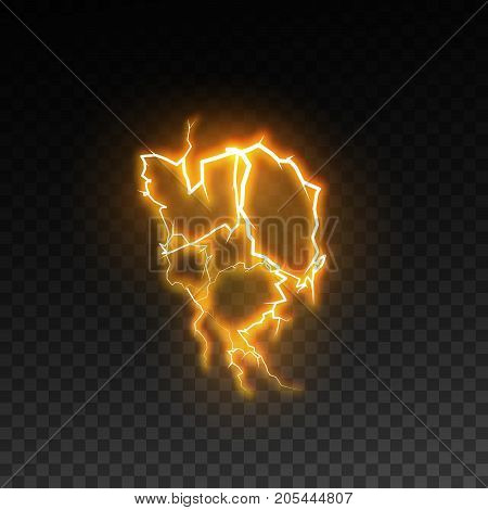 Visual electricity effect. Glowing energy discharge isolated on checkered transparent background. Lightning. Vector illustration