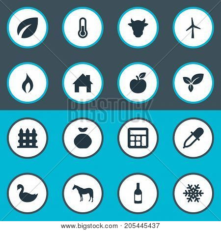 Elements Jonagold, Pipette, Calculator And Other Synonyms Plant, Jonagold And Frost.  Vector Illustration Set Of Simple Agricultural Icons.
