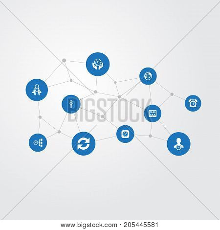 Elements Tasks, Global Time, Watch And Other Synonyms Maintenance, Meeting And Clock.  Vector Illustration Set Of Simple Administration Icons.