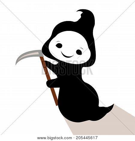 Vector flat illustration. Ghost Little Death. Spooky. Angel of Death Halloween. Happy Halloween!
