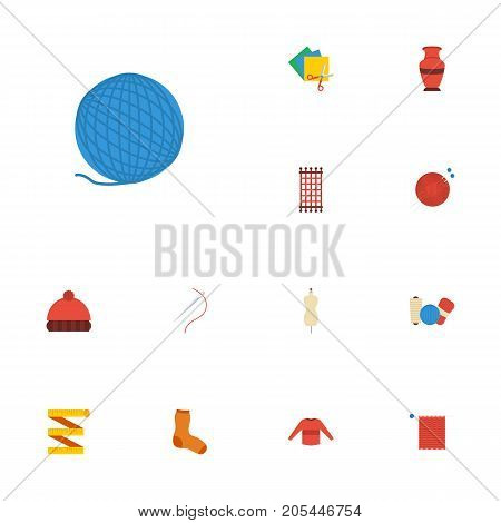 Flat Icons Skein, Meter, Dummy And Other Vector Elements