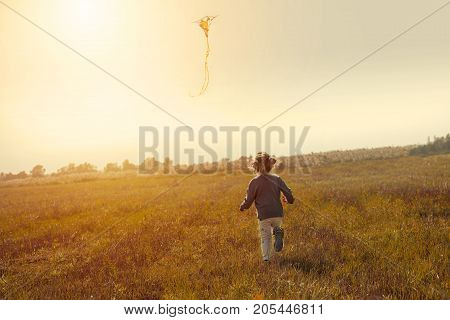 Little girl flying a kite in the field Intentional slope of the horizon to give the dynamics of the photo Toned