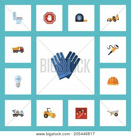 Flat Icons Roll Meter, Bulb, Excavator And Other Vector Elements